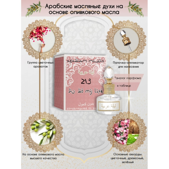 Арабские Масляные Духи Arabian Night №213 Hu&Bo My Life 20 мл